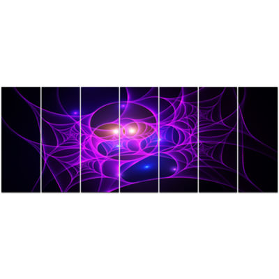 Designart Bright Purple Fractal Cobweb Abstract Canvas Art Print - 7 Panels