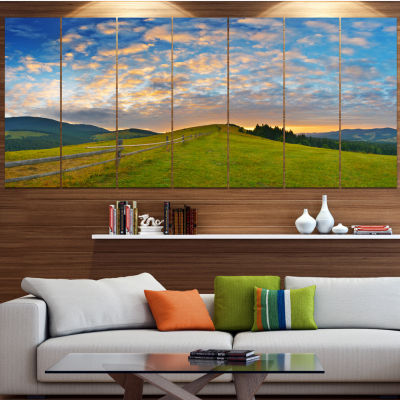 Design Art Green Evening Countryside Landscape Canvas Art Print - 5 Panels