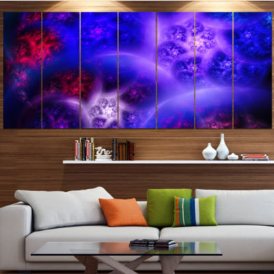 Designart Bright Blue Magic Stormy Sky Abstract Canvas Art Print - 4 Panels