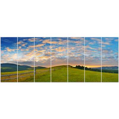 Designart Green Evening Countryside Landscape Canvas Art Print - 7 Panels