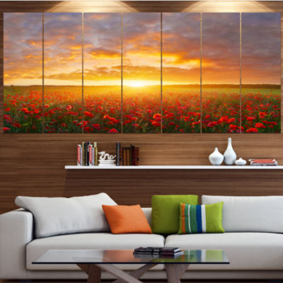 Designart Poppy Field Under Bright Sunset Landscape Canvas Art Print - 4 Panels
