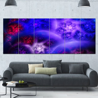 Designart Bright Blue Magic Stormy Sky Abstract Canvas Art Print - 6 Panels