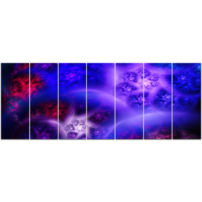 Designart Bright Blue Magic Stormy Sky Abstract Canvas Art Print - 7 Panels