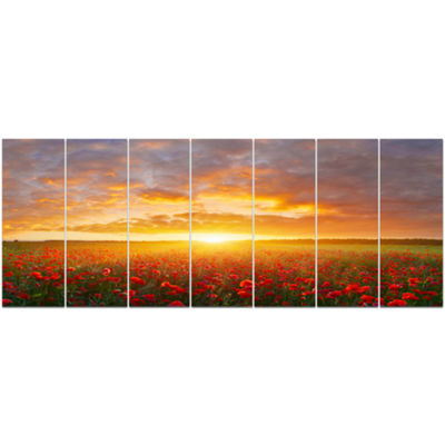 Designart Poppy Field Under Bright Sunset Landscape Canvas Art Print - 7 Panels