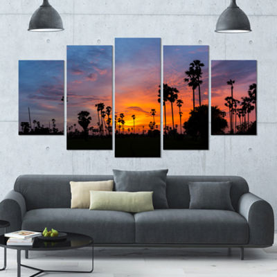 Designart Sugar Palm Tree Silhouette Landscape Large Canvas Art Print - 5 Panels