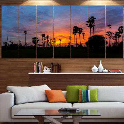 Designart Sugar Palm Tree Silhouette Landscape Canvas Art Print - 5 Panels