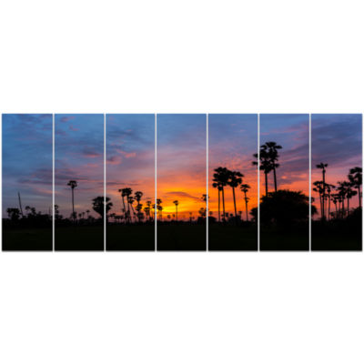 Sugar Palm Tree Silhouette Landscape Canvas Art Print - 7 Panels