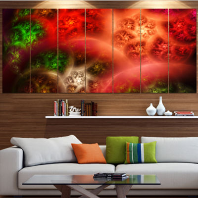 Designart Red Magic Stormy Sky Contemporary CanvasArt Print- 5 Panels