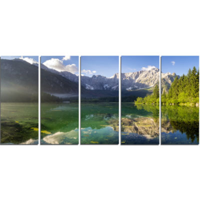 Green Mountain Lake In The Alps Landscape Canvas Art Print - 5 Panels
