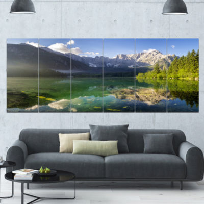 Green Mountain Lake In The Alps Landscape Canvas Art Print - 6 Panels