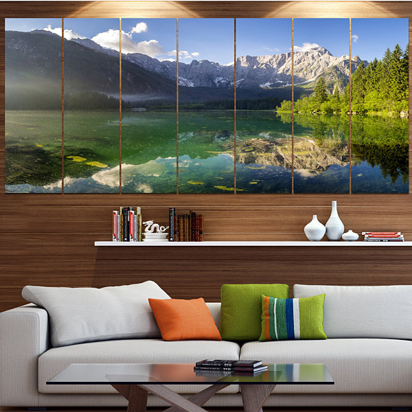 Design Art Green Mountain Lake In The Alps Landscape Canvas Art Print - 7 Panels