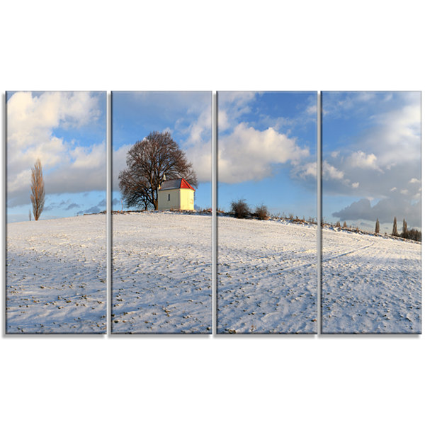 Designart Winter Landscape With Chapel LandscapeCanvas Art Print - 4 Panels