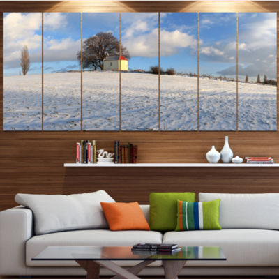 Designart Winter Landscape With Chapel LandscapeLarge Canvas Art Print - 5 Panels