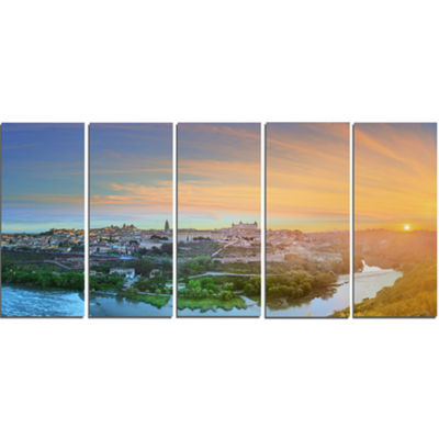 Designart Hill Over The Tagus River Spain Landscape Canvas Art Print - 5 Panels