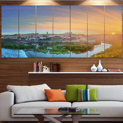 Designart Hill Over The Tagus River Spain Landscape Canvas Art Print - 7 Panels