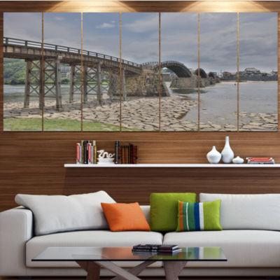 Designart Kintai Bridge In Iwakuni Yamaguchi Landscape Canvas Art Print - 7 Panels