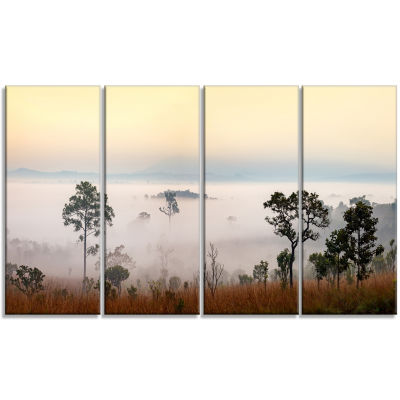 Misty Morning Panorama Landscape Canvas Art Print- 4 Panels
