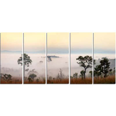 Misty Morning Panorama Landscape Canvas Art Print- 5 Panels