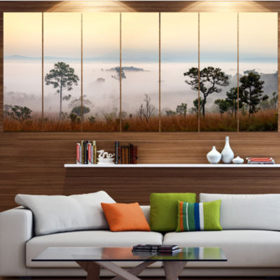 Designart Misty Morning Panorama Landscape CanvasArt Print- 5 Panels