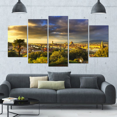 Designart Florence Sunset Aerial View Landscape Large Canvas Art Print - 5 Panels