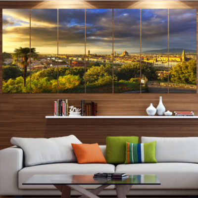Designart Florence Sunset Aerial View Landscape Canvas Art Print - 6 Panels