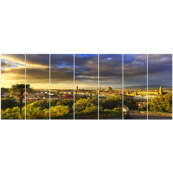 Designart Florence Sunset Aerial View Landscape Canvas Art Print - 7 Panels