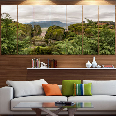 Designart Meteora Mountain In Greece Landscape Canvas Art Print - 7 Panels
