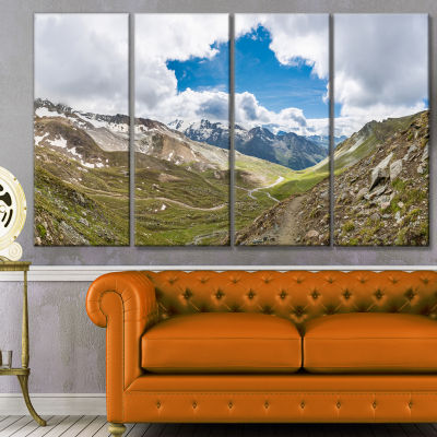 Designart Valley With Opening In Sky Landscape Canvas Art Print - 4 Panels