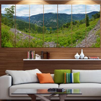 Designart Green Mountains Panorama Landscape Canvas Art Print - 4 Panels