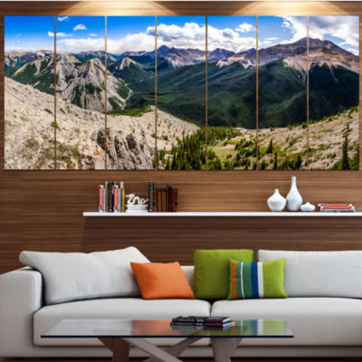 Design Art Rocky Mountains Panorama Landscape Canvas Art Print - 5 Panels