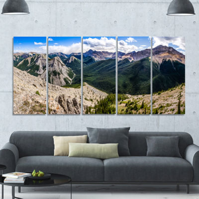 Designart Rocky Mountains Panorama Landscape Canvas Art Print - 5 Panels