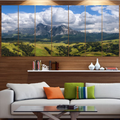 Design Art Sassolungo Mountain Panorama LandscapeLarge Canvas Art Print - 5 Panels