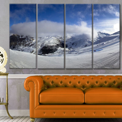 Winter In Alps Panorama Landscape Canvas Art Print- 4 Panels
