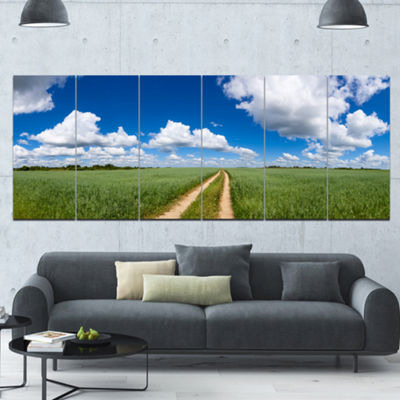 Designart Path In Bright Summer Panorama LandscapeCanvas Art Print - 6 Panels