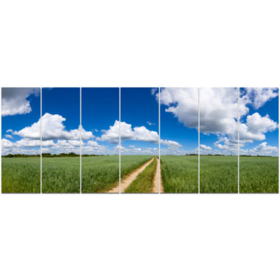 Path In Bright Summer Panorama Landscape Canvas Art Print - 7 Panels