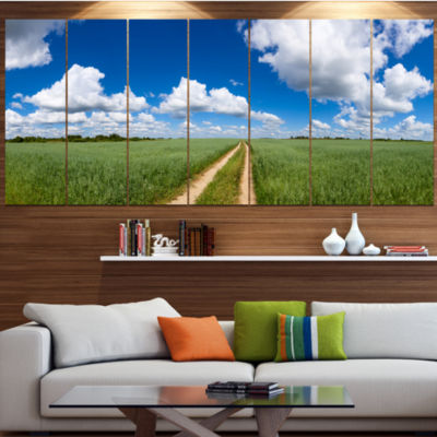 Designart Path In Bright Summer Panorama LandscapeCanvas Art Print - 7 Panels