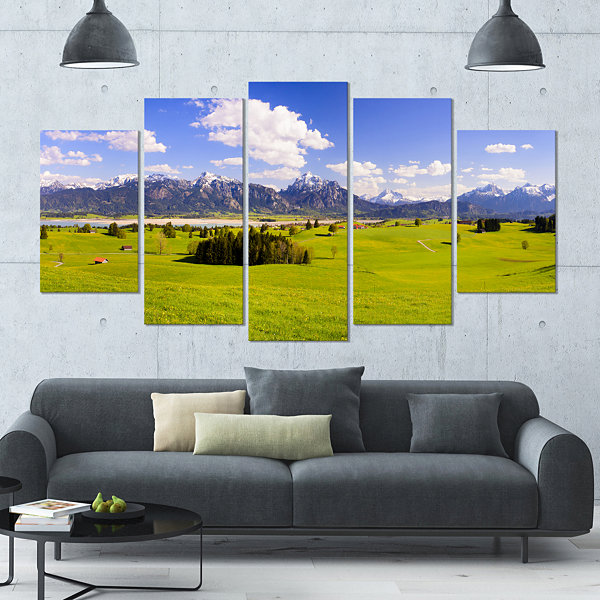 Designart Green Bavaria Field Panorama LandscapeLarge Canvas Art Print - 5 Panels