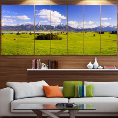 Designart Green Bavaria Field Panorama LandscapeCanvas Art Print - 5 Panels