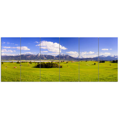 Designart Green Bavaria Field Panorama LandscapeCanvas Art Print - 6 Panels