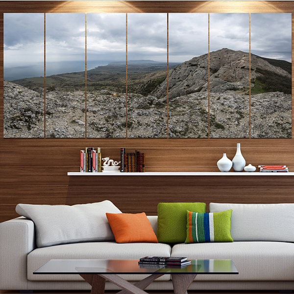 Designart Rocky Mountain Peak Panorama LandscapeCanvas Art Print - 7 Panels