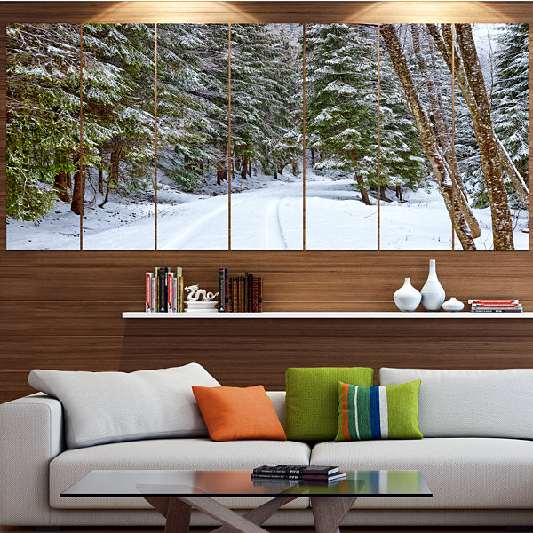 Designart Snowy Road In The Forest Landscape Canvas Art Print - 4 Panels