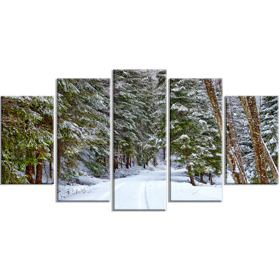 Designart Snowy Road In The Forest Landscape LargeCanvas Art Print - 5 Panels