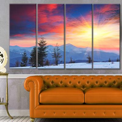 Designart Beautiful Winter Landscape View Landscape Canvas Art Print - 4 Panels