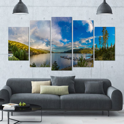 Designart Sognefjord In Norway Panorama LandscapeLarge Canvas Art Print - 5 Panels