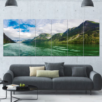 Green Lake Sognefjord Norway Landscape Canvas ArtPrint - 6 Panels