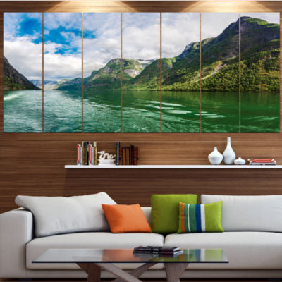 Designart Green Lake Sognefjord Norway LandscapeCanvas Art Print - 6 Panels