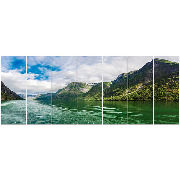 Designart Green Lake Sognefjord Norway LandscapeCanvas Art Print - 7 Panels