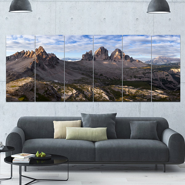 Designart Tre Cime And Monte Paterno Landscape Canvas Art Print - 6 Panels