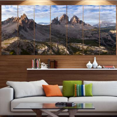 Design Art Tre Cime And Monte Paterno Landscape Canvas Art Print - 6 Panels