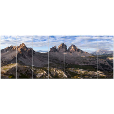 Tre Cime And Monte Paterno Landscape Canvas Art Print - 7 Panels
